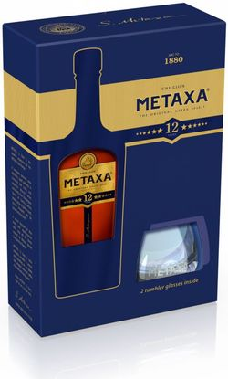 Metaxa 12* 0,7l 40% + 2x sklo GB